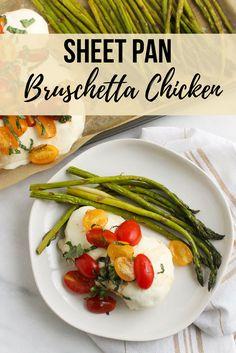 Sheet Pan Bruschetta Chicken via Chef Julie Harrington, RD Chicken And Beef Recipe, Healthy Chicken Recipes, Healthy Dinner Recipes, Beef Recipes, Whole Food Recipes, Healthy Food, Family Recipes, Turkey Recipes, Healthy Kids