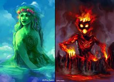 Te Fiti and Te Ka from Moana. Is this seriously a painting! Moana Disney, Disney Pixar, Deco Disney, Disney Fan Art, Disney And Dreamworks, Disney Animation, Disney Magic, Disney Movies, Walt Disney