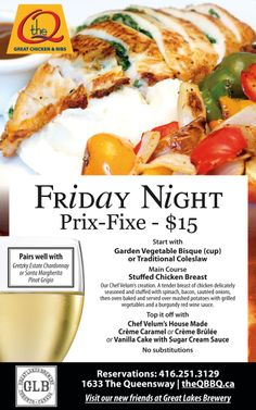 Fri night Nov 29 2013 Prix Fixe Dinner with starter and dessert features Chef Velum's Stuffed Chicken Breast. See you tonight!