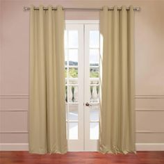 Exclusive Fabrics Parchment Grommet Top Blackout Curtain Panel Pair By