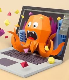 Squid papercraft by Daan De Deckere, via Behance