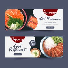 Watercolor illustration with creative sushi-themed for banners, advertisement and leaflet. Food Graphic Design, Design Food, Food Poster Design, Sushi Design, Web Design, Banner Design Inspiration, Web Banner Design, Web Banners, Food Advertising