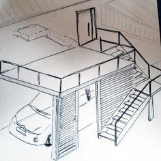Entwurfsskizze, Treppen+Carport