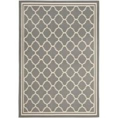 @Overstock - This outdoor rug has a brown background and displays stunning panel color of natural. This power-loomed rug is resistant to mold, mildew, sun, water and other elements.http://www.overstock.com/Home-Garden/Poolside-Anthracite-Beige-Indoor-Outdoor-Rug-67-x-96/6551542/product.html?CID=214117 $135.14