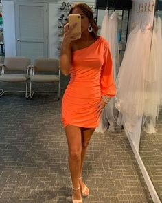One Shoulder Orange Satin Tight Short Homecoming Dress Shorts With Tights, One Shoulder, Satin, Beads, Formal Dresses, Long Sleeve, Sleeves, Beading, Dresses For Formal