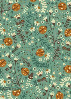Ladybirds by Anna Deegan (Behance) Surface Pattern Design, Pattern Art, Cute Wallpapers, Wallpaper Backgrounds, Textures Patterns, Print Patterns, Impression Textile, Stoff Design, Pattern Illustration