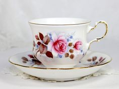 Queen Anne Tea Cup and Saucer, Pink Roses,  English Bone China 12548 by TheVintageTeacup, $19.50 USD