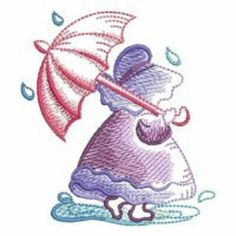 Sunbonnet Sue sketch spring rain with umbrella embroidered fabric quilt block