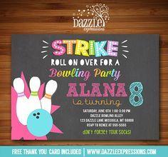 Free printable kids bowling party invitations download get this printable chalkboard girl bowling party birthday invitation kids or teen party idea bowlarama bowlathon event chalkboard filmwisefo