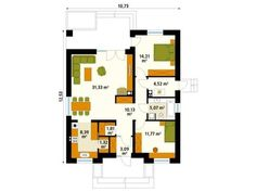 Two bedroom house plans - Houz Buzz Modern Bungalow House, Two Bedroom House, One Story Homes, First Story, Story House, Small House Plans, Traditional House, Ground Floor, Home Projects