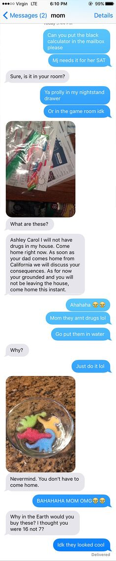 TEXAS --  A Texas teenager's Tweets have social media cracking up at what happened when her mom stumbled upon what she thought were drugs in her bedroom.  Ashley Banks posted screenshots of the text conversation with her mother on Twitter.  In the conversation, she asks her mother to put her calculator in the mailbox for a friend to pick up.