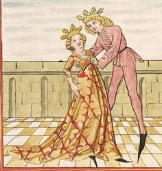 Pontus und Sidonia — Stuttgart (?) - Werkstatt Ludwig Henfflin, um 1475 Cod. Pal. germ. 142 Folio 64r Medieval Clothing, Medieval Art, German Outfit, Ludwig, 15th Century, Illuminated Manuscript, Perception, Imagination, Disney Characters