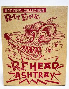 Rat Fink Head Figure Ashtray Gray Ver. Moon of Japan Big Daddy Ed Roth