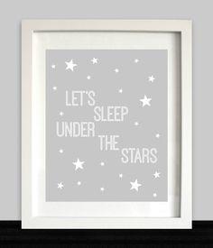 Star Nursery Art // Let's Sleep Under the Stars // Nursery Wall Art // Bedroom Print // Stars Decor // Star Bedroom // Stars Printable by NothingPanda on Etsy https://www.etsy.com/listing/231321788/star-nursery-art-lets-sleep-under-the