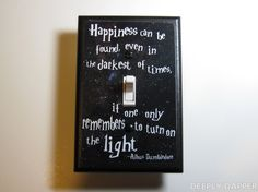 Harry Potter -  Dumbledore Quote Jumbo Light Switch Plate - Happiness Can Be Found. $9.00, via Etsy.
