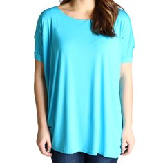 Turquoise Piko Short Sleeve Top