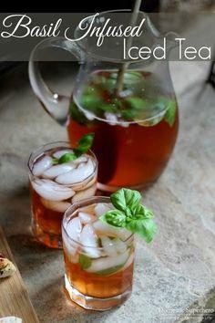Basil Infused Iced Tea - perfect blend of sweet lemon tea and basil!