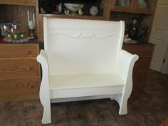 Bench made from twin sleigh bed