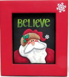 Believe Santa Sign, Tole or Hand Painted on Black Solar Screen, Reclaimed Wood Frame, Folk Art Santa Sign, Christmas Sign, Wall Hanging Art by barbsheartstrokes on Etsy