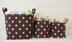 Storage Baskets Polka Dot Brown & Pink  Set of by littlehenstudio, $37.00