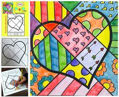 """Pop Art"" Valentine's Day heart!  Enjoy this fun, easy and FREE lesson from ""Art with Jenny K."" Students will add patterns, color, cut out, and hang up their ""Pop Art"" heart for all to see!"