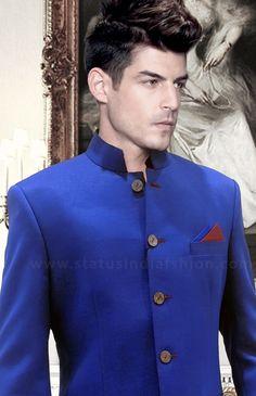 Linen Jodhpuri, Royal blue jodhpuri, elegant bandhgala www.statusindiafashion.com
