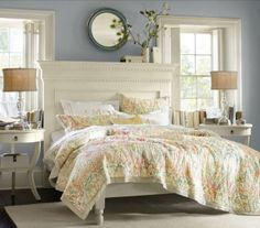Cottage bedroom  Like idea of the mantle for a headboard