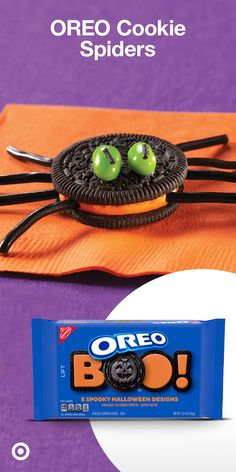 Get your Halloween guests in a spooky mood with this easy recipe using Halloween OREO Cookies with orange crème. Insert 8 black shoestring licorice pieces into cream filling around the edge of each cookie for the spider's legs. For eyes, attach jelly beans to the tops of cookies with small dabs of frosting. Cut licorice into ¼-inch pieces & attach them to jelly beans with more frosting. Top ice cream sundaes or frosted cupcakes with cookie spiders & serve! Halloween Party Snacks, Halloween Sweets, Halloween Goodies, Halloween Crafts For Kids, Halloween Cupcakes, Halloween Birthday, Holidays Halloween, Halloween Themes, Halloween Fun