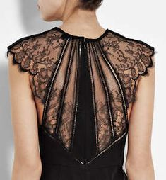 Catherine Deane Lace Shoulder Larue Dress in Black - back view