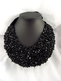 Black Onyx Statement Beaded Collar Necklace