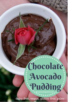 Chocolate Avocado Pudding. Gluten free, Dairy free, Vegan. All the creamy, chocolaty goodness of pudding. None of the refined sugar or dairy.