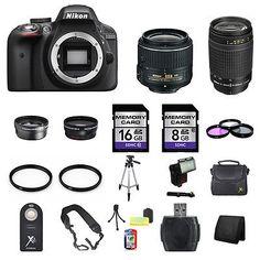 Nikon D3300 DSLR Camera w/18-55mm & 70-300mm Lenses - Black 24GB Full Kit - EXCLUSIVE DEAL! BUY NOW ONLY $552.5