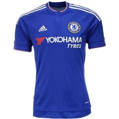 adidas Men's Chelsea Club Soccer Home Jersey ($90) ❤ liked on Polyvore featuring men's fashion, men's clothing, men's activewear, men's activewear tops, blue, mens jerseys and mens activewear