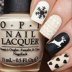 Best Winter Nails for 2017 - 67 Trending Winter Nail Designs - Best Nail Art Christmas Nail Stickers, Cute Christmas Nails, Holiday Nails, Christmas Deer, Winter Christmas, Christmas Stencils, Xmas Nails, Holiday Makeup, Winter Nail Designs