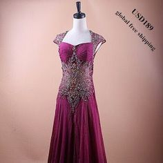 SOLD OUT!!  100% Silk Purple Beading Evening Dress.Only one left.  Selling Price: US$189 (global free shipping) Product No.: DBSS-00032  Bust:90-94cm;Waist:74-78cm;Dress Front Length:170cm;Dress Back Length:210cm  Email Product No. to: service@dazzlebride.com.We will provide you a special link to buy it.   WWW.DAZZLEBRIDE.COM