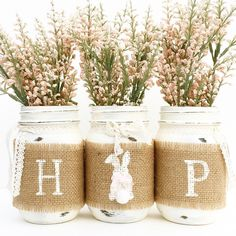Hop Mason Jar Set Spring Decor Mason Jars Easter Country Farmhouse... (16.080 CRC) ❤ liked on Polyvore featuring home, home decor, holiday decorations, filler, spring, easter, home & living, home décor, silver and flower centerpieces