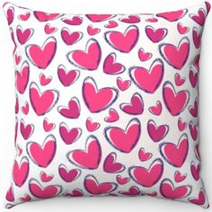 Soft Pillows, Throw Pillows, Pink Hearts, Gifts For Family, Throw Pillow Covers, Pillow Inserts, Screen Printing, Great Gifts, Valentines