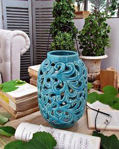 Lanterna ceramica turquoise - d.cm.19xh.30 (93.913)