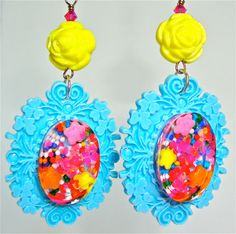 Candy resin earrings  vintage style frame by sparklecityjewelry, $22.00