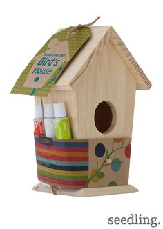 Paint & decorate your very own bird house! www.seedling.com