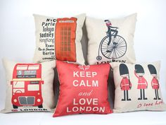 London pillow cover creative London telephone booth bus by acsoul