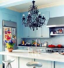 Blue Kitchen cabinets with black chandelier. Kitchen Chandelier, Black Chandelier, Painted Chandelier, Gothic Chandelier, Beaded Chandelier, Vintage Chandelier, Chandelier Lighting, Eclectic Kitchen, Kitchen Decor