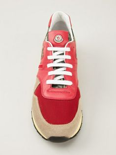 MONCLER - camouflage, red and beige trainers #moncler #monclershoes #monclertrainers #menshoes #jofré