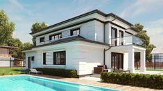 Projekt domu uA50 204,2 m2 - koszt budowy - EXTRADOM 20 M2, Modern House Design, Home Fashion, Custom Homes, Villa, Mansions, Architecture, House Styles, Building