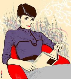 """Audrey Hepburn illustration by Agata """"Endo"""" Nowicka for bookstore in Poland"""