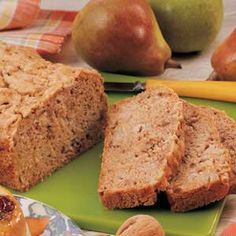 Pear bread recipe. I used very ripe pears and half a cup of sugar instead of 2 for the same quantity of ingredients and it turned out perfect. Next time substitute all of the oil with apple sauce.