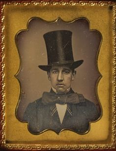 ca. 1855, [daguerreotype portrait of a frowning gentleman with a seemingly over-sized top hat and bowtie], Addison Fish via Harvard University, Houghton Library, Department of Printing and Graphic Arts, Harrison D. Horblit Collection of Early Photography