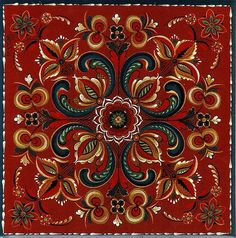 Symmetrical and geometric.  Typified by light colors on a dark ground; teardrops along with leaves and scrolls.  Unshaded opaque colors with red, black, and white overlay.  Oval flowers split in the middle with contrasting colors.  This tile represents the rosemaling style of Norway's Vest Agder region.  One of many trivet tiles available at eBay store Scandinavian4you.