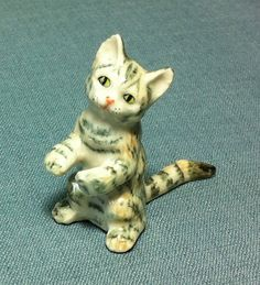 Miniature Ceramic Cat Kitty Kitten Animal Cute by thaicraftvillage