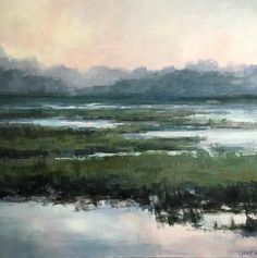 Morning Blush Marsh Abstracted Modern Landscape by christina dowdy Acrylic/oil ~ 40 x 40 Landscape Artwork, Cool Landscapes, Watercolor Landscape, Abstract Landscape, Watercolor Painting, Watercolors, Contemporary Abstract Art, Contemporary Landscape, Arte Coral